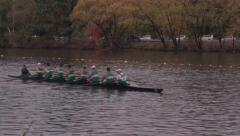 Wide Shot of Crew Race on River Stock Footage