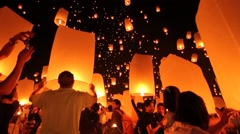 Yi Peng Sky Lantern Loi Krathong Traditional Festival Stock Footage