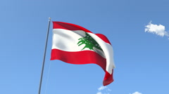 The flag of Lebanon Waving on the Wind. Stock Footage