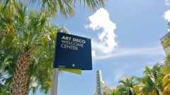 Art Deco sign in South Beach Stock Footage