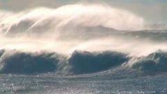 Wind waves ocean sea spray  - stock footage