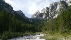 4k UHD pan tilt dolomite alps valley refuge Auronzo three peaks 11546 Stock Footage