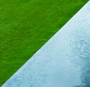 Grass and water nature background. top view. abstract Stock Photos