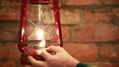 Kindle kerosene  lamp - stock footage