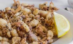 spanish starter chopitos rebozados with small deep fried squid - stock photo