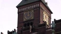 The Copenhagen City Hall clock strikes a symbolic 12 strokes Stock Footage