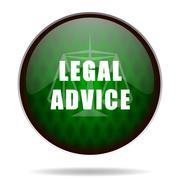 Legal advice green internet icon. Stock Illustration