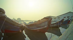 George town, penang, malaysia - 22 jul 2014: old dilapidated fishing boats at Stock Footage