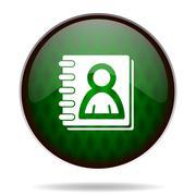 Stock Illustration of address book green internet icon.