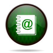 Address book green internet icon. Stock Illustration