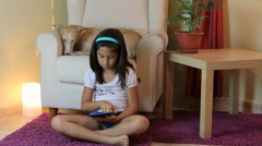 Young Girl Using A Tablet Stock Footage