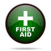 First aid green internet icon. Stock Illustration