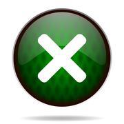 Cancel green internet icon. Stock Illustration