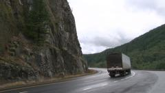 Semi Truck Driving Mountain Road - stock footage