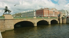 Saint petersburg, russia - circa jun 2014: the anichkov bridge built in 1841 Stock Footage