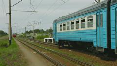 Aleshino, russia - circa may 2014: commuter train traffic near a small provin Stock Footage