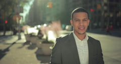 Young African American black Latino man in city smile face 4k Stock Footage