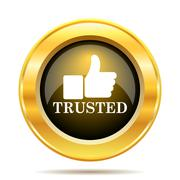 Trusted icon. internet button on white background.. Stock Illustration