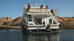 People on a houseboat Stock Footage