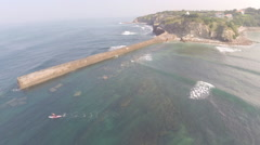 2,7k aerial view of magical coast line (with Stand Up Paddle) 13 Stock Footage
