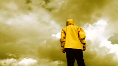 Man Overlooking Apocalyptic Sky - stock footage
