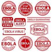 Set of red stamp with Ebola concept text on white background Stock Illustration