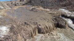 River & Stream Theodore Roosevelt National Park Spring Snowmelt Runoff Stock Footage