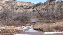 River & Stream Theodore Roosevelt National Park Spring Beaver Dam Stock Footage