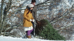 Young couple dragging a Christmas tree through the snow Stock Footage