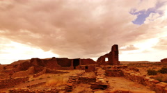 4K Chaco Culture 01 Time Lapse Pueblo Bonito Native American Ruins Sunset Stock Footage