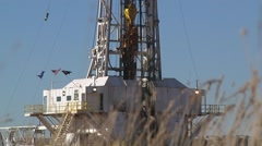 Large Drilling Rig Blocks Go Up Derrick Stock Footage
