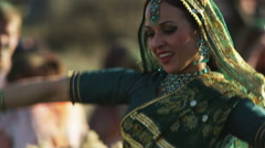Woman doing an Indian dance for Holi Stock Footage
