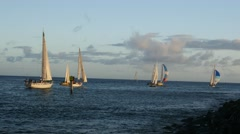Ala wai yacht harbor, sailboat race, waikiki, honolulu, hawaii Stock Footage