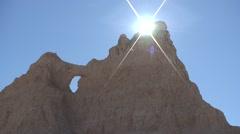 Badlands Badlands National Park Summer Sun Backlight Wall Stock Footage