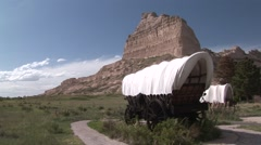 History Scotts Bluff National Monument Summer Wagon Pioneers History Stock Footage