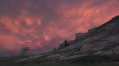 Badlands Scotts Bluff National Monument Summer Sunset Scotts Bluff Nm Clouds Stock Footage