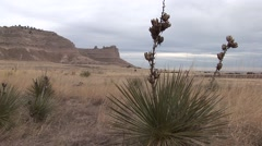 Prairie Scotts Bluff National Monument Winter Scotts Bluff Clouds Stock Footage