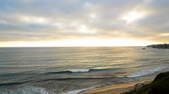 4K Time Lapse of Sunset at Laguna Beach -Zoom In- - stock footage