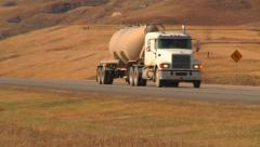 Oil Field Chemical Truck Approaches Stock Footage