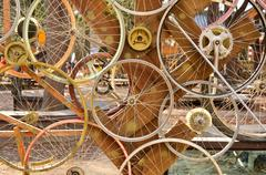 Bicycle wheels pattern decorate to background Stock Photos
