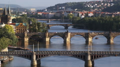 high angle view of Prague - stock footage