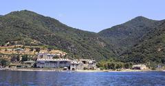xenophontos monastery. holy mount athos. - stock photo