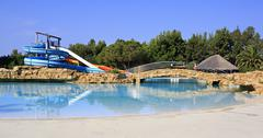 water slides and pool at porto carras sithonia. - stock photo