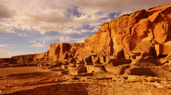 4K Chaco Culture 05 Time Lapse Pueblo Bonito Native American Ruins Sunset Stock Footage