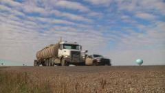 Oil Transport Truck Speeds By On Highway Stock Footage