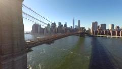 Stock Video Footage of Aerial View Brooklyn Bridge with City 4K #1
