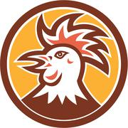 cockerel rooster head circle retro - stock illustration