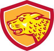 Stock Illustration of jaguar head side growling shield retro.