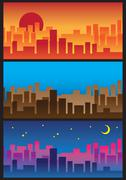 Sunrise to night city skyline view Stock Illustration