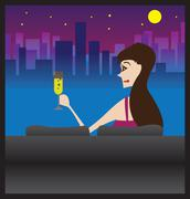 Lonely woman enjoying night city view vector illustration - stock illustration